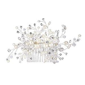 Ever Faith Damen Haarkämme Kristall simulierte Perle Hochzeit Blume Blatt Filigrane Haare kämmen klar Silber-Ton
