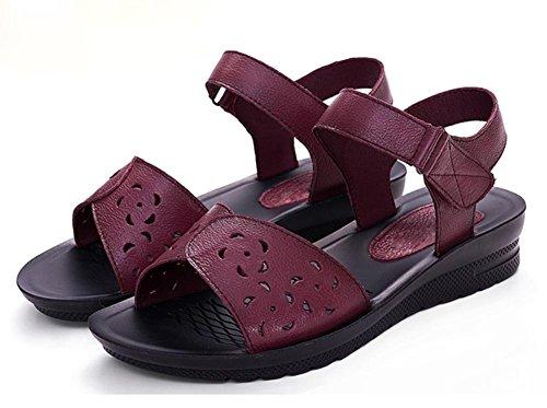 Rutschhemmende weiche untere flache Sandalen mit flachen Sandalen Sommerschuhe wine red
