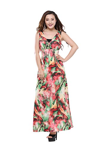 Moollyfox Femmes Grande Taille Floral Imprimé Style Été Maxi Robe de Bohème, Longue Robe de Plage Vert