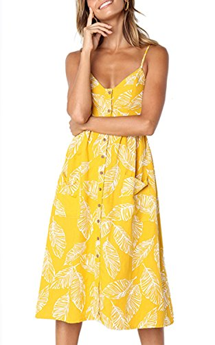 Angashion Damen V Ausschnitt Spaghetti Buegel Blumen Sommerkleid Elegant Vintage Cocktailkleid Kleider, Größe: L, Farbe: 650 Gelb