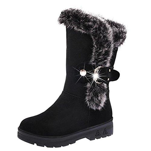 XINANTIME - Botas de nieve blanda con cordones para mujer, Botines planas de invierno con punta redonda (Negro, EU:38)