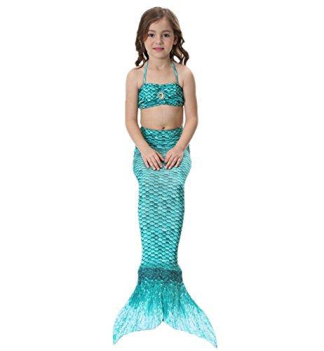 Imagen de prettycos 3pcs bikini traje de bano sirena princesa mermaid swimsuit disfraz de sirena cosplay verde alternativa