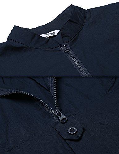 Beyove Damen Hemd Langarmshirt Bluse Stehkragen Hemdbluse mit Reißverschluss V-Ausschnitt Elegant Herbst Winter Dunkelblau