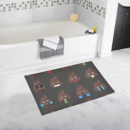 YSJXIM Big Set Poo Emoticons Shic Emoticons Custom Alfombra de baño Antideslizante Alfombra de baño Felpudo Alfombra de Piso para baño 20 x 32 Pulgadas