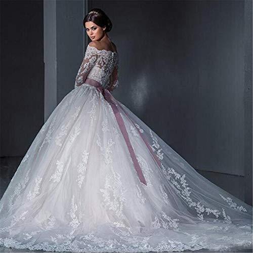 He-shop Hochzeitskleid, Brautkleid Braut Lange Ärmel Eine Schulter Spitze Schleppend Schlank Blumenstickerei Europa Und Amerika Große Größe Party Abend - 2