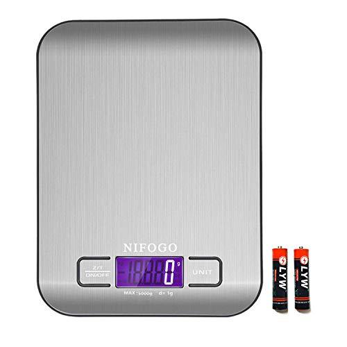 NIFOGO Küchenwaage Digitale, Haushaltswaage, Waage Küchen, Elektronische Waage mit LCD Display, Tara-Funktion, wunderbare Präzision auf bis zu 1g(5kg Maximalgewicht), Auto-Off - Waage Lcd Elektronische