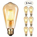 Edison Glühbirne,Dobee Edison Vintage LED Lampe E27 (4W/220V) 2600-2700K Retro Glühbirne Vintage Antike Glühbirne,Amber Warm, 6 Stück [Energieklasse A+]