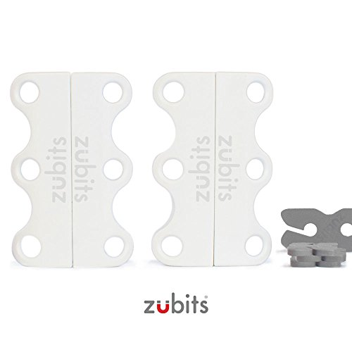 zubits® - Magnetische Schuhbinder/Magnetverschlüsse für Schuhe - Nie wieder Schuhe binden! Größe #1 Kinder und Senioren in weiß