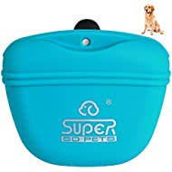Petacc Dog Treat Bag Silicone Dog Training Bag Portable Dog Treat Pouch with Magnetic Closing and Waist Clip (Blue)