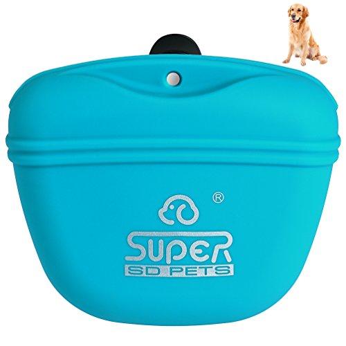 Petacc Hunde Futterbeutel für Hundetraining mit Clip Trainingsbeutel Hund in Silikon für Außenbereich (Blau)