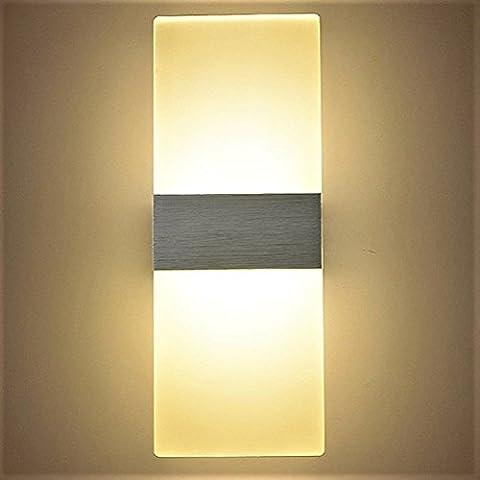 12W Moderne Led Applique Murale Interieur, Carré en Acrylique et Design en Titane en Aluminium Argenté, 3000K Blanc Chaud pour Chambre Maison Couloir Salon 290 * 110 * 48 mm