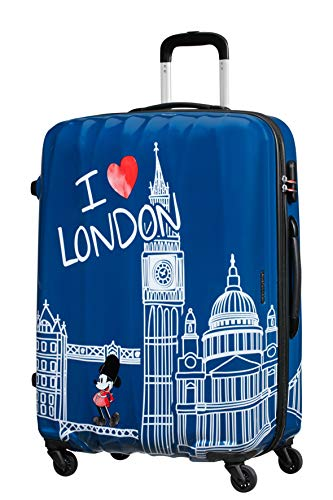American Tourister Disney Legends Spinner L Valigia per bambini, 75 cm, 88 L, Blu (Take Me Away Mickey London)