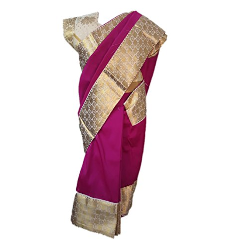 Kaass Collection Baby Girl Readymade Pre-Stitched Saree (Pink, 18-24 Months)