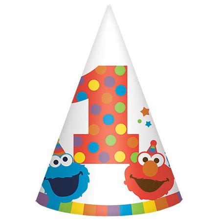 Sesamstraße 1. Geburtstag Elmo Turns One Kegelhüte (8 Karat) (Geburtstag Elmo 1. Dekorationen)