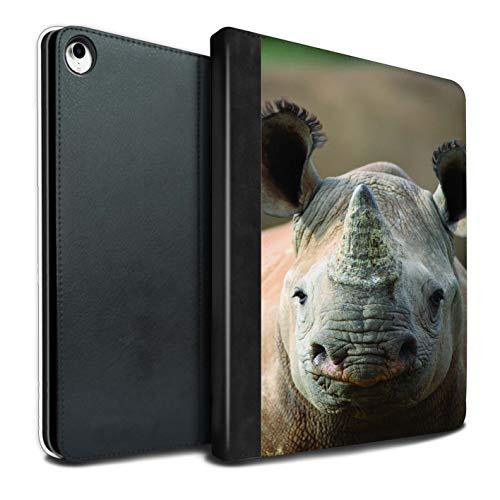 Stuff4 Tablet Hülle Für Apple iPad Pro 12.9 2018/3rd Gen Wilde Tiere Nashorn Design PU Leder Tasche Brieftasche Schutzhülle Flip Case