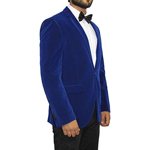 Homme Velours Veste Droite Blazer Veste De Costume Bleu Roi