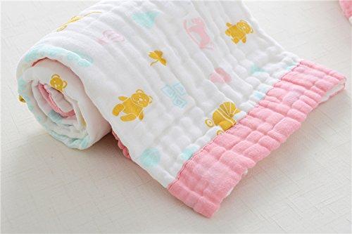 Neugeborenes Baby Pulver (MangeooBaumwolle Gaze, super saugfähiges Handtuch für Kinder, Verdickung neugeborenes Baby, Pulver Seite Pferd tragen (6 Layer 90*90))