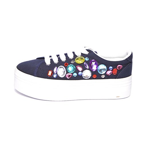 Jeffrey Campbell JC Play Zomg Ice Canvas Platform Sneakers Navy / White