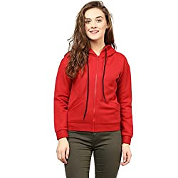 The Vanca Womens Wool Hooded Jacket (JKFN450166-Red-S_Red_Small)