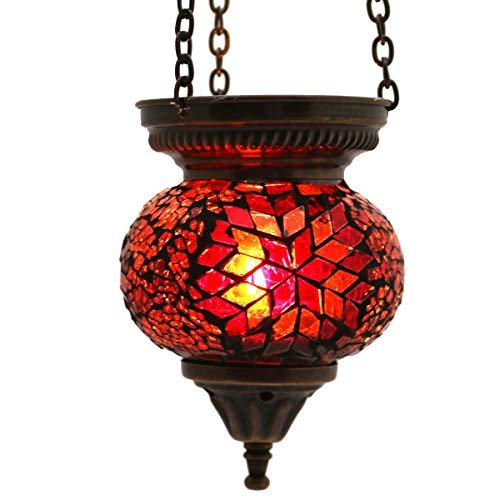 Mosaik Lampe Hängelampe Windlicht Pendelleuchte Aussenleuchte Deckenleuchte aus Glas Teelichthalter Orientalisch Handarbeit dekoration - Gall&Zick (Rot s)