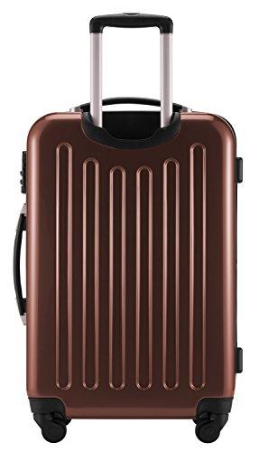 HAUPTSTADTKOFFER® 87 Liter Hartschalen Koffer · Koffer 87 Liter (63 x 42 x 28 cm) · Hochglanz · TSA Zahlenschloss · SILBER Mocca Braun