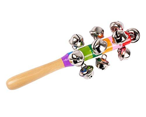 Westeng Bébé Percussion à La Main avec sonnettes boule Petit Tambourin Coloré Educatif Cadeau Longueur 18cm 1pcs
