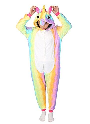 Einhorn Kostüm Pyjamas Tierkostüm Schlafanzug Verkleiden Cosplay Kostüm zum Karneval Fasching (L: für Höhe 168-177 cm, (Kostüme Si)