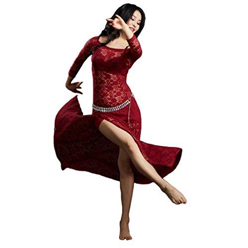 YiiJee Damen Tanzkleidung Bauchtanz Kostüm Eleganten Belly Dance Kleid Bauchtanz Tops Wein Rot