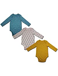 Bagright Baby Body Suite Romper Multicolor Sleep Suite for New Born Infants Girls Boys Gifts (Set of 3) (3-6 Months)
