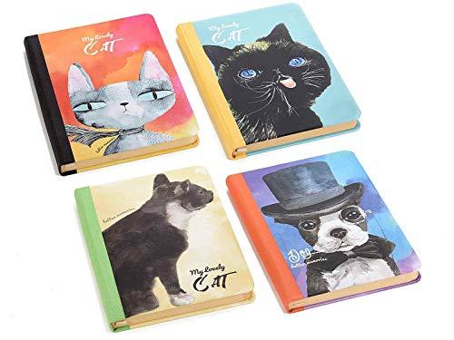 4 Cuadernos de gatos con Pasta Dura Motivo Perro y Gato, paginas de Papel y Marca Pagina Misure:cm 10,5 x 15 H-C.ca 80Fogli Grammatura : 80 g - Copertina rigida - con segnalibro in Raso