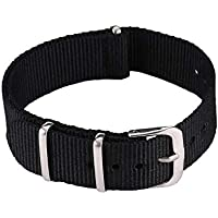 Tree-fr-Life Bracelet de Montre de Mode Bracelet de Montre en Nylon étanche Noir 18 mm