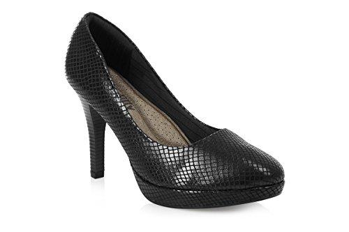 Piccadilly  Piccadilly 841010, Sandales Compensées femme Noir - Black Snake