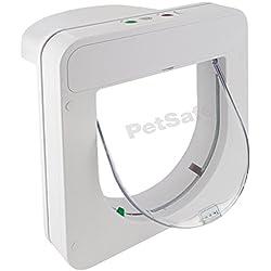 PetSafe - Chatière àpuce électronique pour Chat Petporte smart flap, Cadre Robuste, Enregistre jusqu'à 25 Chats, Mode nuit optionnel - Blanc