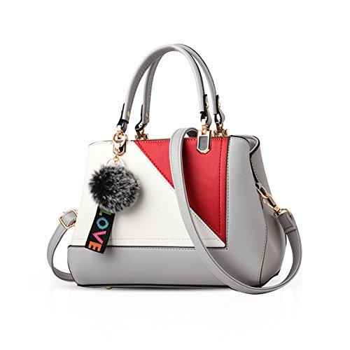 NICOLE&DORIS 2018 neue Mode Frauen Geldbörsen und Handtaschen Damen Designer Satchel Handtasche Casual Schulter Tote Taschen auf großen Verkauf(Grau) (Designer-handtasche Verkauf)