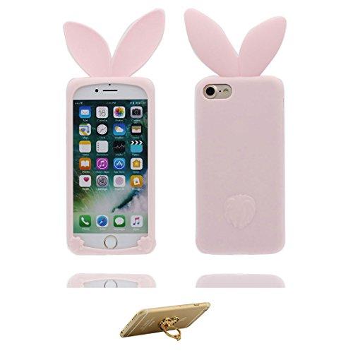 """iPhone 6 Coque, iPhone 6S Étui Cover Housse pour iPhone 6s 4.7 """" Cartoon 3D lapin oreille TPU Gel TPU Shell iPhone 6 Case (4.7"""") Résistant à la poussière Scratch Cute & ring Support Noir Rabbit Ear Pink"""