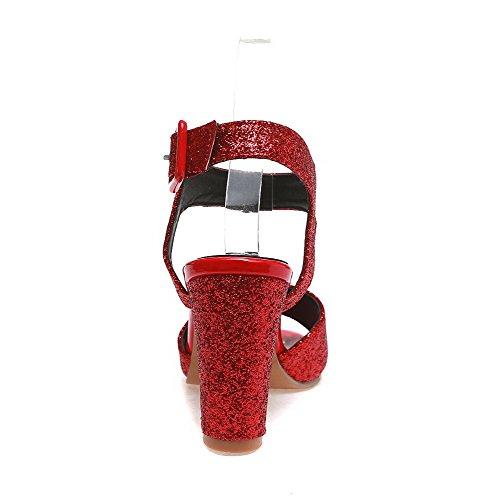 VogueZone009 Donna Tessuto Lucido Puro Fibbia Punta Aperta Tacco Alto Sandali Rosso