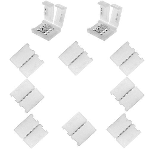 Preisvergleich Produktbild Kabenjee 10x RGB 5050 LED Lichtstreifen Verbinder, 4 poligen Schnellverbinder für 10mm breites RGB LED Stripes, LED Band Layout verbinder, RGB LED Streifen Stecker, 5050 RGB LED Stripe Verbinder Adapter