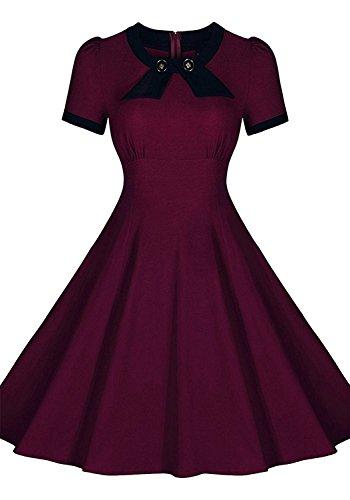 Gigileer Vintage 1950's Audrey Hepburn robe de soirée cocktail Rockabilly Swing Rouge