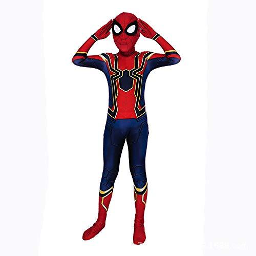 AKCHIUY Spiderman Cosplay Kostüm, Drucken Spinnenmuster Abnehmbare Maske Spiderman Cosplay Halloween Kleidung Requisiten,Kids-L