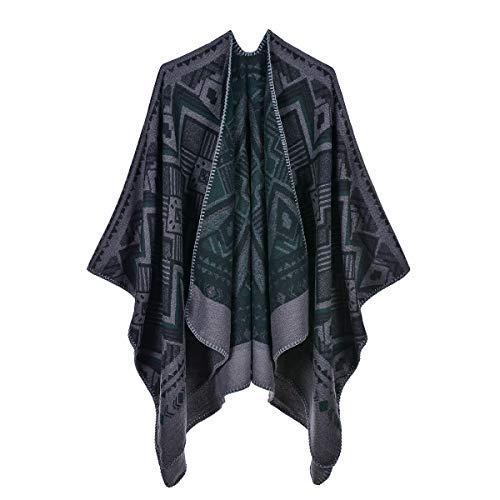 QUROENS Frauen Winter Kaschmir Schal Wrap geometrische Jacquard Reversible übergroße Poncho Cape Cardigan gestrickte Decke Mantelgrün