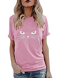 SEWORLD Damen Sommer Mode Frauen Süße Katze Drucken Tops Kurzarm T-Shirts  Bluse 1986acef25