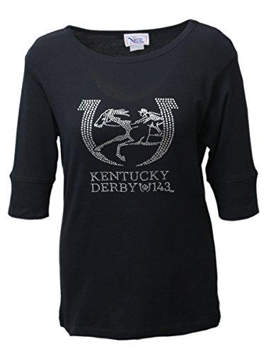 Offizielles Lizenzprodukt Damen Kentucky Derby Half Sleeve Strass 143rd Top, Damen, Nitro USA, schwarz, X-Large