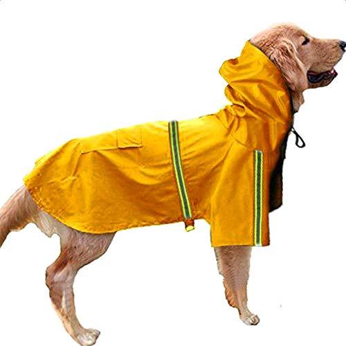 KoKoBin Hunde-Regenmantel Wasserdicht Kapuzenjacke Hundemantel reflektierend gestreift Hund Regenmantel Jacke für kleine, mittelgroße und große Hunde geeignet -