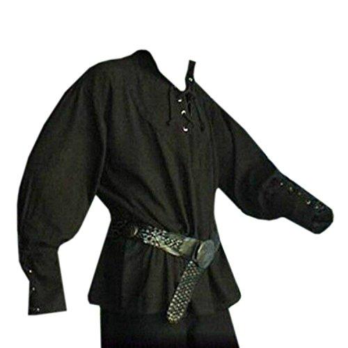 Pxmoda Herren Mittelalter Hemd Gothisches Herren Schnürhemd Fischerhemd, ideales Cosplay Hemd Kostüm mit Leinenstruktur für Game of Thrones (Game Of Thrones Kostüm Männer)