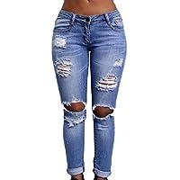 DressU Women's Denim Roll up Boyfriend Low Waist Cotton Ripped Hole Jeans Leggings Pants US Small As Picture