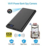 SONGYANG Power Bank WiFi Cámara de Gran Capacidad 10000Mah Cámara de visión Nocturna 1080P DVR 4K WiFi Grabadora con detección de Movimiento Mini Nanny Security Spy Camera, Negro
