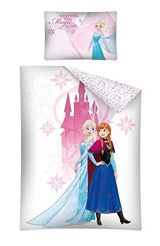 Kinderbettwäsche Disney III 2-teilig 100% Baumwolle 40x60 + 100x135 cm mit Reißverschluss (Frozen Elsa rosa)
