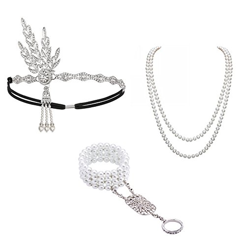 1920s Accessories Set Great Gatsby - For Women Headband Bracelet Pearl Necklace For Party
