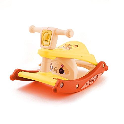 Acecoree Baby Schaukeltier, Schaukelpferd 37 x 39 x 55 cm Baby Essstuhl Multifunktions- KinderTischsitz Babystuhl mit Beleuchtungs- und Musiksystem (Gelb)