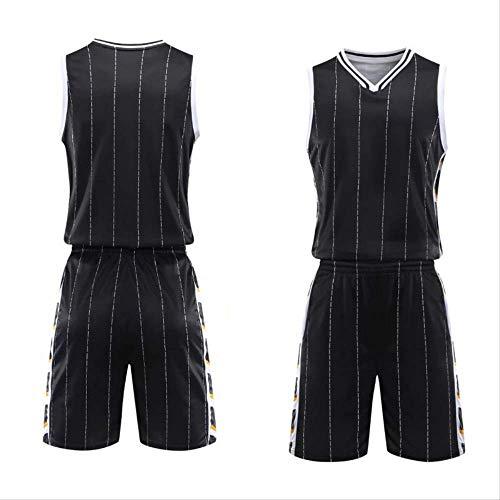 WRPN Maglie da Basket, Maglie da Basket Uomo, Gioventù Divise da Basket Sportwear Maglie + Pantaloncini da Basket, Adatte per Studenti/Uomini/Giovani 3XL Nero